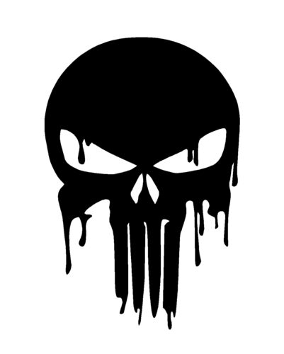 Dripping Melting Bloody Punisher Skull Vinyl Decal Car Window Laptop Sticker