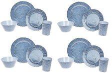 16PC Melamine Dinner Set Stripe Wave Plates Bowls Kitchen Service Dining Set New