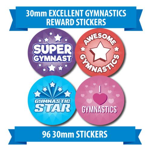 """96 30mm /""""EXCELLENT GYMNASTICS/"""" school reward stickers stars heart"""
