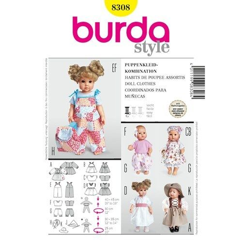 Burda Sewing Pattern 8308 Baby Doll Clothes Dress Overalls 12-14 in and 16-18 in