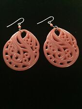 DANGLE DROP CORAL COLOR STUD EARRINGS