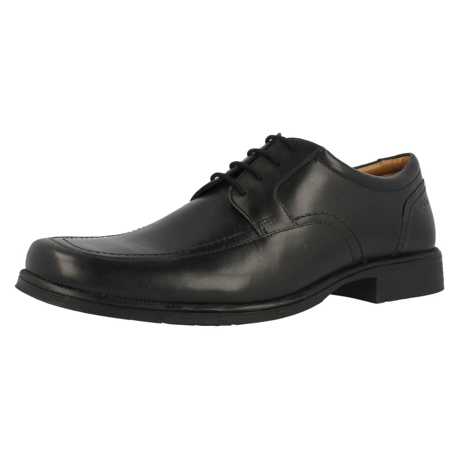 Clarks huckley Spring Herren schwarzes Leder Schnürschuh G PASSFORM (38 B) (