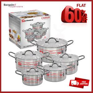 5pc-Aluminio-Cazuela-Olla-Horno-amp-Cocina-Olla-Pan-Set-con-tapas-Carina