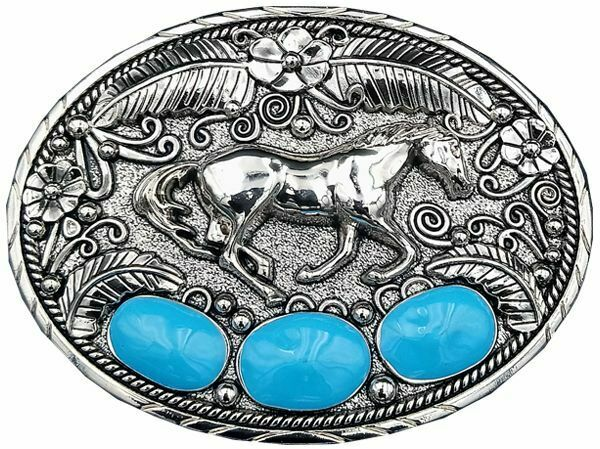 Western Design HORSE Belt Buckle Turquoise colors Eagle feathers Patriotic USA 7