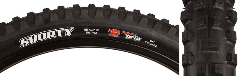 Maxxis Shorty 3C 2-PLY Tire Max Shorty 26x2.4 Bk Wire 60 3c 2ply