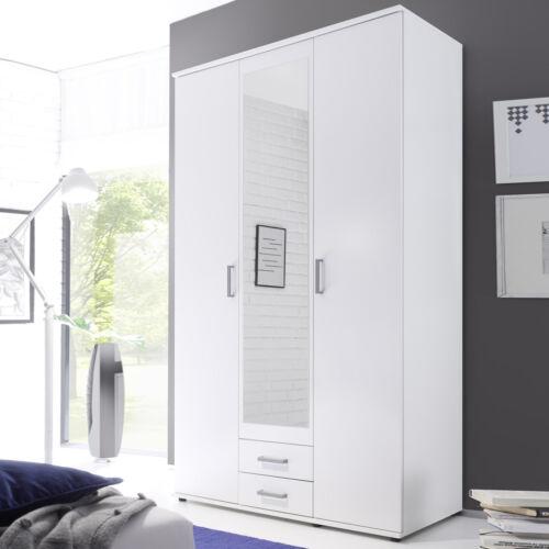 Kleiderschrank Usedom Schlafzimmerschrank in weiß Drehtürenschrank mit Spiegel