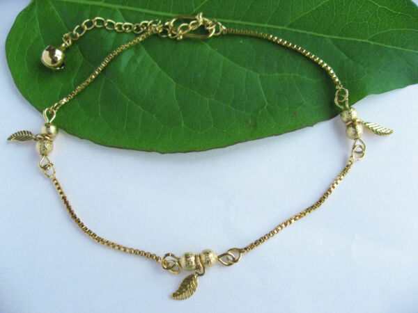 Fein 18k Yellow Gold Plated Polished Small Bell Thin Piece Leaves Charm Anklets Gift Geschickte Herstellung