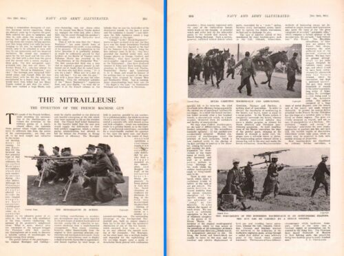 1914 WWI ARTICLE EVOLUTION OF FRENCH MACHINE GUN HOTCHKISS MULES SOLDIERS