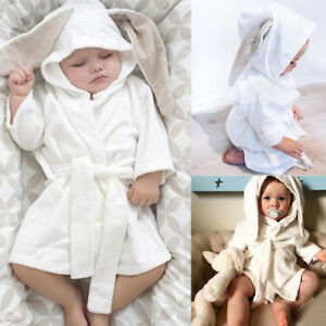 Infant Kid Baby Hooded Bath Robe Cute Rabbit Ear Bathing Towel Sleepwear Pajamas