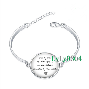 Image Is Loading Long Distance Sister Gl Cabochon Tibet Silver Bangle