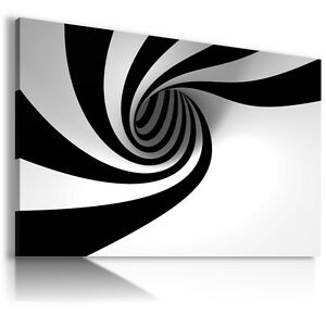 SPIRAL BLACK WHITE BLACK Canvas Wall Art Abstract Picture  AB284 MATAGA