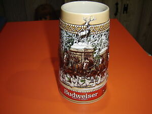 image is loading anheuser busch c series budweiser christmas stein mug - Budweiser Christmas Steins