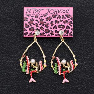 Betsey-Johnson-Enamel-Crystal-Pearl-Seaweed-Mermaid-Earbob-Dangle-Earrings-Gift