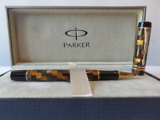 PARKER DUOFOLD  AMBER CHECK ROLLERBALL  PEN NEW IN BOX