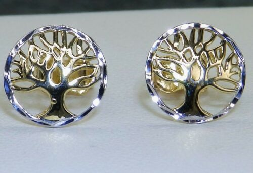 9ct White Yellow Gold TREE OF LIFE EARRINGS LADIES STUDS 9 CARAT GOLD