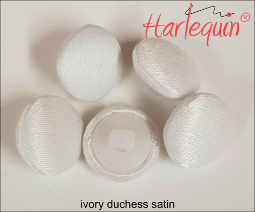 Bridal Buttons Fabric Covered Buttons Ivory Duchess Satin made by Harlequin