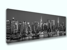 New York Black and White Skyline Panoramic Picture Canvas Print Home Wall Art