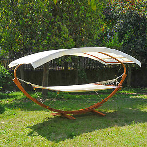 Wooden Double Hammock W Solid Frame Sun Bed Outdoor