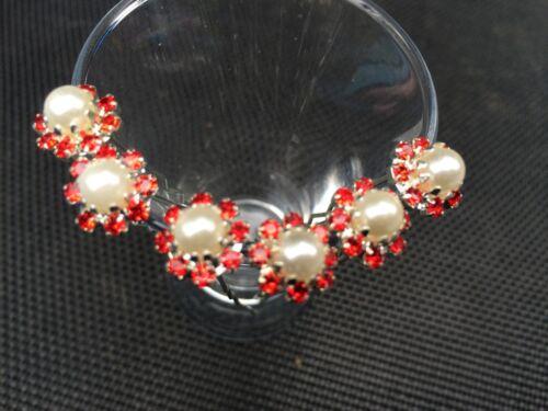 6 sposa Prom handmade 8 Rosso Crystal Diamante Perla Fiore Per Capelli Pin