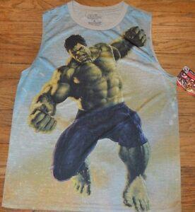 e8173836132e4 A imagem está carregando Marel-Comics-Vingadores-Hulk-musculo-Tank-Camiseta -sem-