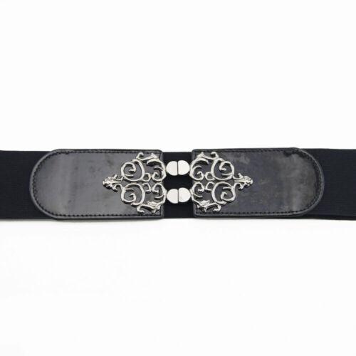 Elasticated Black Stretch Waist Belt Metal Buckle Girl Fashion Jewelry Accessory