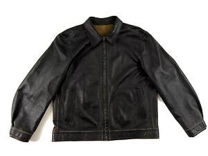 Dillard-039-s-Mens-Reversible-Brown-Black-Lightweight-Leather-Jacket-Size-X-Large-XL