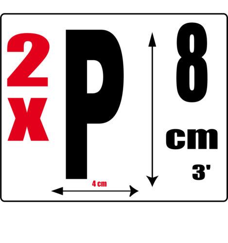 lot 2 lettres [P] Sticker autocollant noir hauteur 8cm Lettre adhésive en vinyle