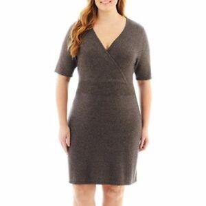 Details about LIZ CLAIBORNE® Plus Size 2X Charcoal Lurex Surplice Sweater  Dress NWT
