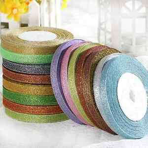 25Yards-3-8-034-10mm-Glitter-Ribbons-Bling-For-Bows-And-Wreaths-Decorated-Many-Pick