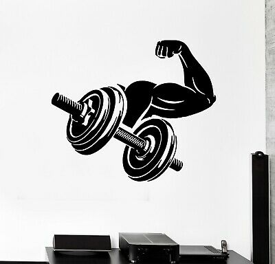 Wall Decal Fitness Sport Gym Muscles Arm Dumbbell Vinyl Sticker ed1510
