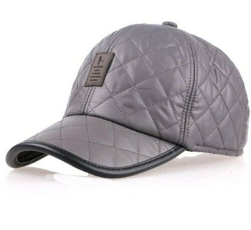 Grey Black Green Winter Quilted Thermal Baseball Cap With Ear Flaps // Blue