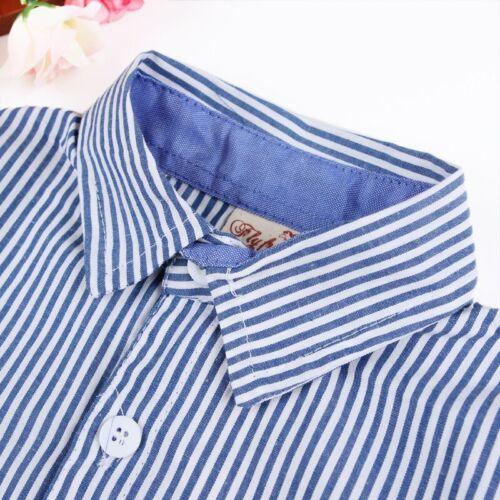 2pcs Kids Baby Boys Gentleman Suit Blue Stripes Long Sleeved Shirt Strap Jeans