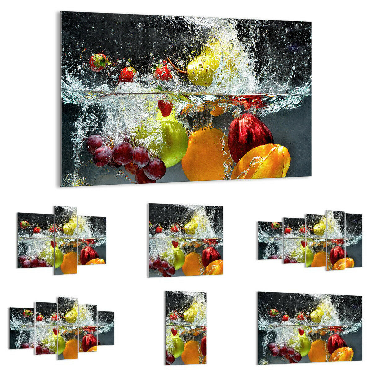 Glas DruckenS Image Wand Kunst Fruits Water Splash food 2972 UK