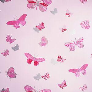Image Is Loading Red Pink Silver Love Butterflies Wallpaper Kids Girl
