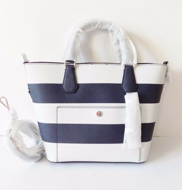 8218be6f7418 Michael Kors Greenwich Saffiano Stripe Large Leather Grab Bag Navy White