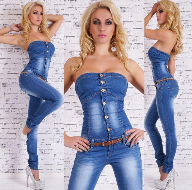 Women's Strapless Denim Jeans Jumpsuit Overall + Belt - XS/S/M/L/XL