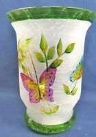 Butterfly Candle Holder Sm Pillar Hand Painted Frosted Home Decor