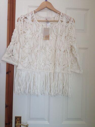 ganchillo Cardigan estilo S de chaqueta algodón 100 East Bnwt m talla blanco 8UwBx70USq