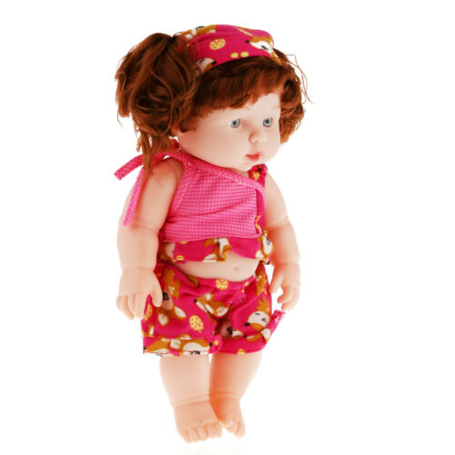 50cm Vinil Macio Boneca De Bebê Menina-Cachos Cabelo fúcsia Roupa Pele Normal