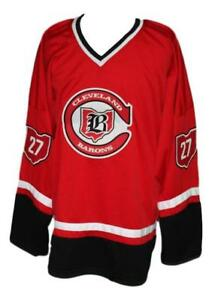 Custom-Name-Cleveland-Barons-Retro-Hockey-Jersey-New-Red-Meloche-Any-Size