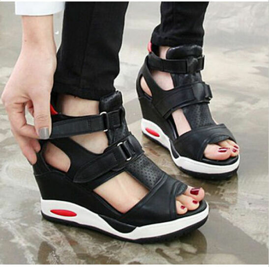 Damenschuhe Sport summer Platform Peep Toe Hidden Wedge Buckle Cut Sandaleen Sneakers