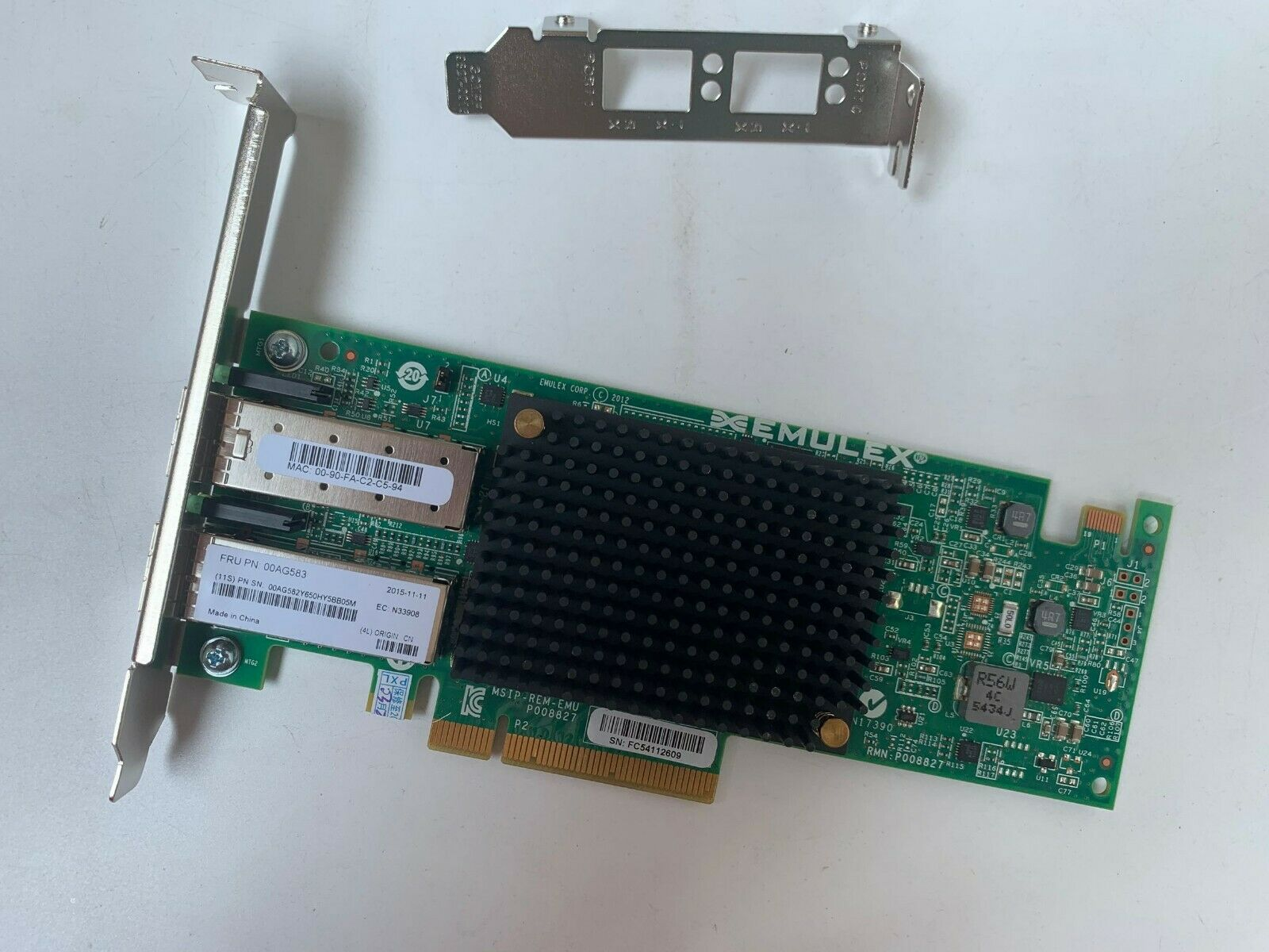00AG583 IBM Emulex P008827 2-Port 10Gbps SFP+ PCIe Network Adapter