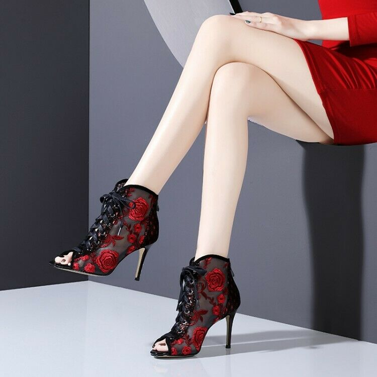 Womens 2019 New Fashion Peep Toe Lace Up Zipper Mesh Ankle Boots Sexy High Heels