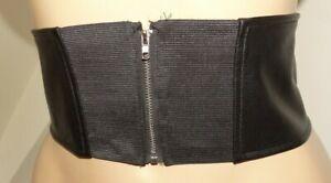 ceinture T38/40 faux cuir noir large zippée dos 75 à 80 cm 148/