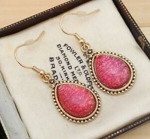 Vintage-1950s-Ruby-Red-Glass-Fire-Opal-Pear-Shape-Drop-Dangle-Pierced-Earrings