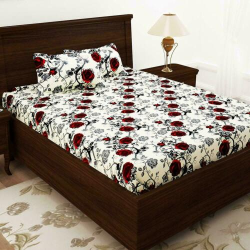 Red Rose Print Bedsheet Floral 100/% Cotton Double Bedsheet With 2 Pillow Covers