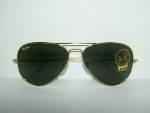 6f645a8e98 New RAY BAN Gold AVIATOR Sunglasses RB 3025 L0205 G-15 Glass Lens ...