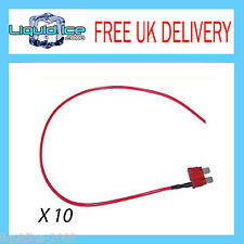 X 10 OFF MFS10A 10 AMP MINI SPUR BLADE FUSE LEAD CABLE FOR CAR VAN BUS VEHICLE
