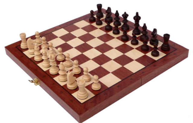 Schach Sehr schönes Schachspiel OLYMP Schachbrett 35x35 cm Holz Intarsie