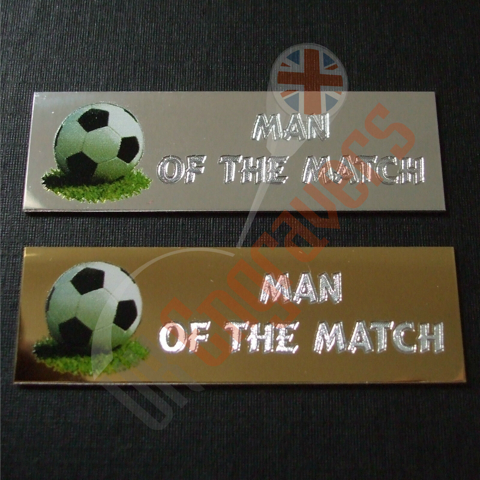 25 X MAN OF THE MATCH ENGRAVED PLAQUES FOR TROPHIES AWARDS SELF ADHESIVE PLATES